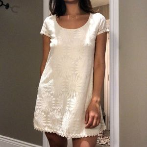 White lacy mesh mini dress